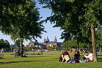 People in park, Rijksmuseum, Amsterdam, Netherlands