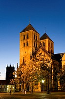 Church lit up at night, St Paul Church, Muenster, North Rhine_Westphalia, Germany