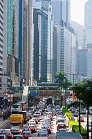 Traffic on road, Wanchai, Hong Kong, China