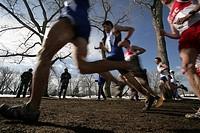 Athletes running through park