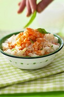 Rice with prawns and piment d´Espelette