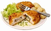 Chicken Cordon Bleu with herbs, garlic and potatoes