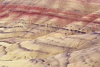 Oregon, John Day Fossil Beds National Monument, Painted Hills area, Detail of colorful patterns in hill ridges.
