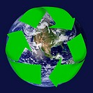 Earth and recycling symbol