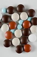 High angle view of pills