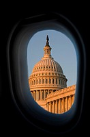 Government building viewed through an airplane window, Washington DC, USA