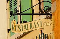 Low angle view of a restaurant sign, Le Mans, Sarthe, Pays_de_la_Loire, France