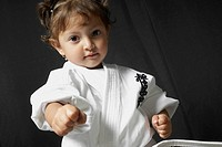 Portrait of a girl practicing karate