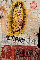 Paintings of Virgin Of Guadalupe on a wall, Oaxaca, Oaxaca State, Mexico
