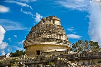 Low angle view of an Observatory, Chichen Itza, Yucatan, Mexico