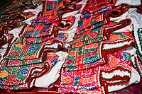 High angle view of jackets on a market stall, Cuetzalan, Puebla State, Mexico