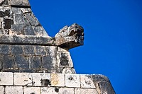 Low angle view of old ruins of a temple, Temple of the Jaguars, Chichen Itza, Yucatan, Mexico