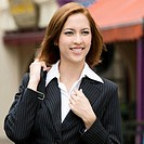 Close_up of a businesswoman carrying a shoulder bag