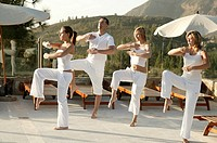 Group, Tai Chi practice, clothing white, outside, morning_mood, full_length