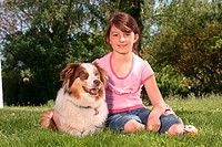 girl with australian shepherd