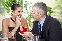 Man proposing woman with engagement ring
