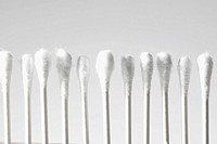 Cotton swabs in row