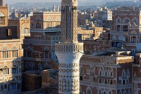 Mosque tower & skyline, San´a, Yemen