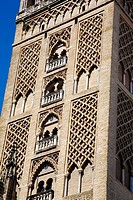 Detail of Giralda tower, Sevilla. Andalucia, Spain.