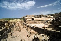 Roman theater, ruins of old roman city of Baelo Claudia, Tarifa. Cadiz province, Andalucia, Spain