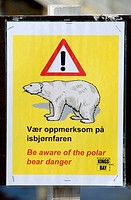Polar Bear Warning Singn in Spitsbergen, Norway