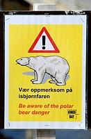 Polar Bear Warning Singn in Spitsbergen, Norway