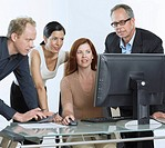 Group of businesspeople with computer