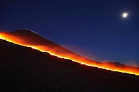 Italy, Sicily, Mt Etna, molten lava flowing from volcano