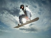 Low angle view of snowboarder