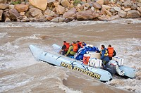 People on white water rafting tour, Colorado River, Moab, Utah, United States