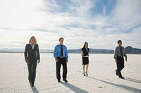 Businesspeople walking on salt flats, Salt Flats, Utah, United States
