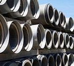 Rows of industrial sewer pipes