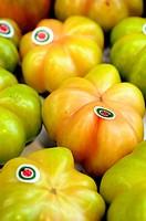 Tomatoes at La Boqueria market, Barcelona. Catalonia, Spain