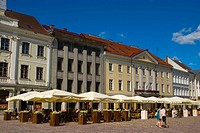 Restaurant terraces along Raekoja Plats the main square in Tartu, Estonia, Europe