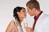 Bride and Groom with Champagne, portrait