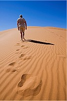 Africa, Namibia, Namib desert, Man walking over sand dune, rear view