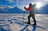 Skier crosses frozen Portage Lake, Chugach National Forest, Alaska