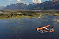 Turbo Beaver flightseeing over the Knik River Valley during Summer in Southcentral Alaska