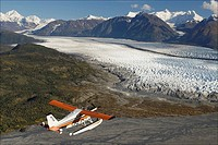 Turbo Beaver flight seeing over Knik Glacier during Summer in Southcentral Alaska