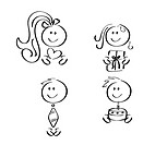 Vier einfache Icons zum Thema Familie
