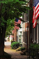 Tree-lined street of historic row houses with American flags in a residential area of Old Town, Alexandria, Virginia, USA