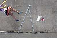 Woman falling off a ladder (thumbnail)