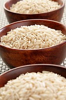 Bowls of organic basmati rice