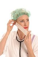 Krankenschwester mit Mundschutz