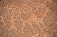 PETROGLYPH Bedouin engravings of unknown origin in the Wadi Rum desert, in Jordan.
