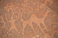 PETROGLYPH Bedouin engravings of unknown origin in the Wadi Rum desert, in Jordan.
