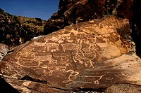 American Indian Petroglyphs in the Little Petroglyph Canyon in the Coso Range of Southern California, USA