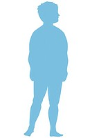 SILHOUETTE OF A CHILD Overweight boy.