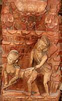 SEXUALITY Erotic sculpture on wood Kamasutra. Kathmandu, Nepal.