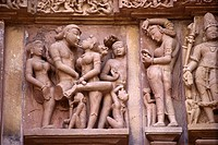 Range and variety of erotic images on Lakshmana temple , Khajuraho , Madhya Pradesh , India